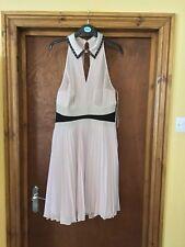 KAREN MILLEN DRESS size 16 Pale Pink, Pleated Beaded Collar Cocktail Dress
