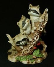 Vintage Homco 3 Raccoons Porelain Figurine #1433