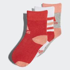 Adidas Kids Girls Training Ankle Socks 3 Pairs Lifstyle Infant Cotton CV7155 New