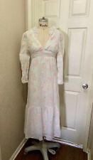 Vintage 60s 70s Pink Floral White Sheer Long Wedding Prairie Maxi Dress Small