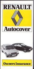 Renault Autocover Owners Insurance 1984 UK Market Foldout Brochure