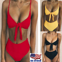 2PCS Womens Bikini Push-up Padded Strappy Bra Swimsuit Bathing Suit Swimwear USA