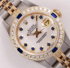 Rolex Lady Datejust Two Tone 18k Sapphire Diamond Bezel-White MOP Sapphire Dial