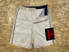 Vintage Tommy Hilfiger Men's Chino Cargo Shorts Flag Design W31 Beige Zip Fly