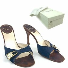 Christian Dior Women's Size 8 High Heel Mules Open Toe Lock & Key Blue Canvas