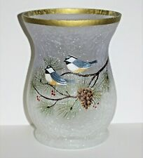 YANKEE CANDLE Winter Birds, Frosted Crackle Glass Jar Holder, New in the Box