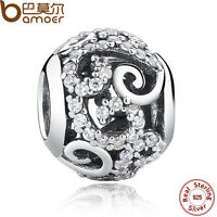 New Bamoer Authentic S925 Sterling Silver Round Charm With Clear CZ For Bracelet
