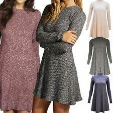 Patternless Thigh-Length Skater Dresses for Women
