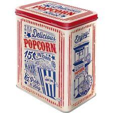Vintage Style Retro Lidded Storage Tin - Fresh Popcorn USA Style