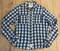 Abercrombie & Fitch Men's Shirt Blue White Check Medium 100% Cotton