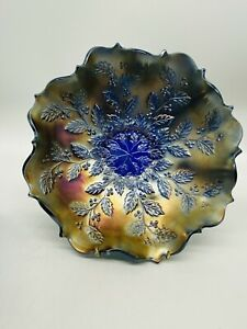 Truly Stunning Holly Aqua Gold And Green Carnival Glass Dish 8 Ins