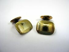 Antique Cufflinks Cuff Links: Etched Gold Tone Fixed Post