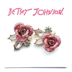 Betsey Johnson PINK GLITTER ROSE PEARL CLUSTER STUD Earrings,FREE FAST SHIPPING!
