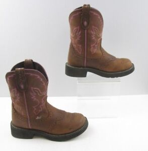 Ladies Justin Brown / Pink  Leather Cowgirl Boots Size: 6.5 B