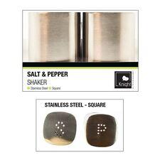 Silver Salt & Pepper Pot Shaker Set Brushed Stainless Steel Square Shape Kitchen