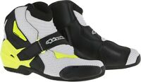 Alpinestars SMX-1R Vented Boots - Black/White/Yellow Size 48