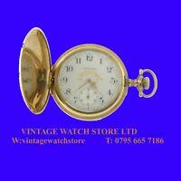 WW1 Pretty 14k Gold Waltham 7 Jewel Deco Hunter Pocket Watch 1914