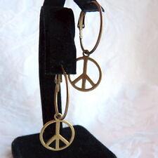 BoHo Peace Sign Hoop Antique Bronze Earrings