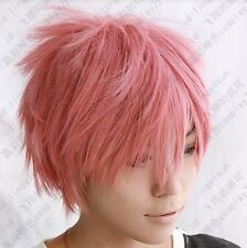 fairy tail Natsu Dragneel short pink cosplay party wig free shipping