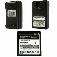 New Battery + Charger for HTC EVO 3D EVO V Sensation Sprint 4G G14 G18 G21