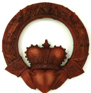 Celtic Claddagh Wall Hanging Plaque Irish Love Marriage Resin Brick Red Painted