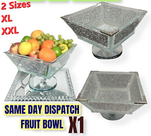 XXL Crushed Diamond Crystal Filled Fruit Bowl Silver Edges Kitchen Gift