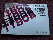 Yamaha Motorcycle 1973 74 Owners Manual TY80A TY80 80 Maintenance Repair Bike