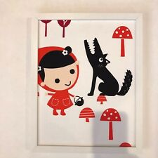 """Framed Wall Art made from imported fabric, Red Riding Hood, 11"""" x 14"""""""