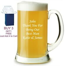 Personalised Engraved Pint Tankard Glass Wedding Christmas Birthday Dad Gift