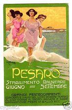 POSTCARD ITALIAN PESARO SEASIDE RESORT ARTIST-SIGNED COMELLI