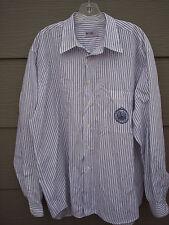 HUGO BOSS 20 Mens Dress Shirt Sz 16.5 35 White Blue Striped Embroidered Long Sl