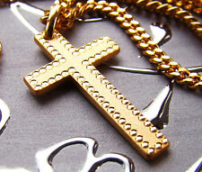 Rider 18k Gold Plated Gift Idea p01 Mens Cross Pendant Chain Necklace Hip Hop