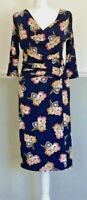 Phase Eight Pencil Dress Faux Wrap UK 10 Stretch Navy Floral Bodycon Cowl Neck