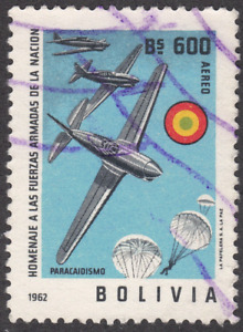 1962 Bolivia SC# C241 - F - Planes and Parachutes - Used