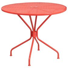Flash Furniture 35.25 In. Round Coral Indoor-Outdoor Steel Patio Table NEW