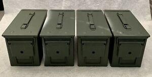 4 Vintage Metal Military Ammunition Boxes