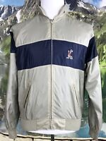 Izod Vintage Mens Striped Vail Golf Club Windbreaker Jacket Medium