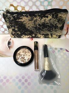 MAC ~ GOLD HOLIDAY SET ~ WHISPER OF GILT Highlighter, Lip glass, bag & 143 Brush