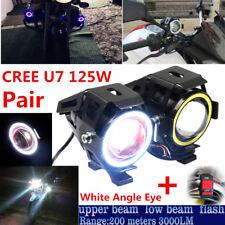 2x CREE U7 LED 125W Motorcycle DRL Headlight Driving Fog Light Spot Lamp+Switch