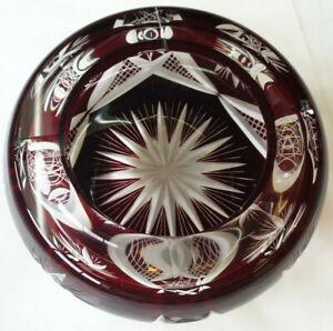 Richtig-Schwer Aschenbecher Bleikristall, Rot Überfanggla, Handgeschliffen,