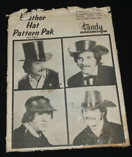 New listing Vintage Tandy Leather Tooling Craft Leather Hat Pattern Pak of 4 Patterns