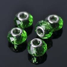 5pcs 14x7mm Faceted Crystal Lampwork Glass Loose Big Hole Beads European Charms