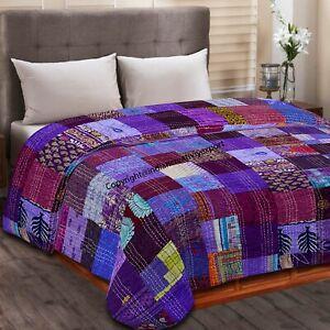 Handmade Purple Patola Silk Patchwork Kantha Quilt Throw Blanket Bedspread Decor