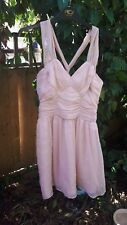BNWT UK 12 Pale Peach Pink Nude Ruched Dress Strappy Wedding Party Bridesmaid