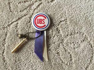 1960's Chicago Cubs Pin w/ Ball, Bat And Ribbon