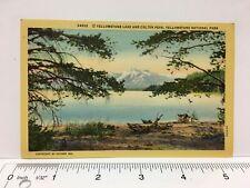 Linen Postcard Yellowstone Lake Colter Peak Yellowstone National Park, Haynes