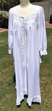 Eileen West Lawn Cotton Robe Nightgown Sz S White w/Lace Ballet Length $78 NWT