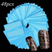48 Sheets Water Transfer Decals White Lace Manicure Decor Nail Art Sticker