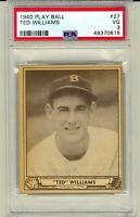 1940 Play Ball #27 Ted Williams Boston Red Sox HOF PSA 3 New Slab no creases