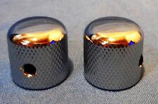 2 CHROME ELECTRIC GUITAR KNOBS WITH ALLEN WRENCH INSET FOR TELECASTER